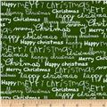 Moda Merry Scriptmas Greetings Evergreen