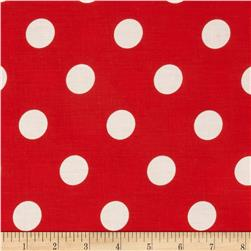Cotton Blend Broadcloth 1 in. White Dot On Red