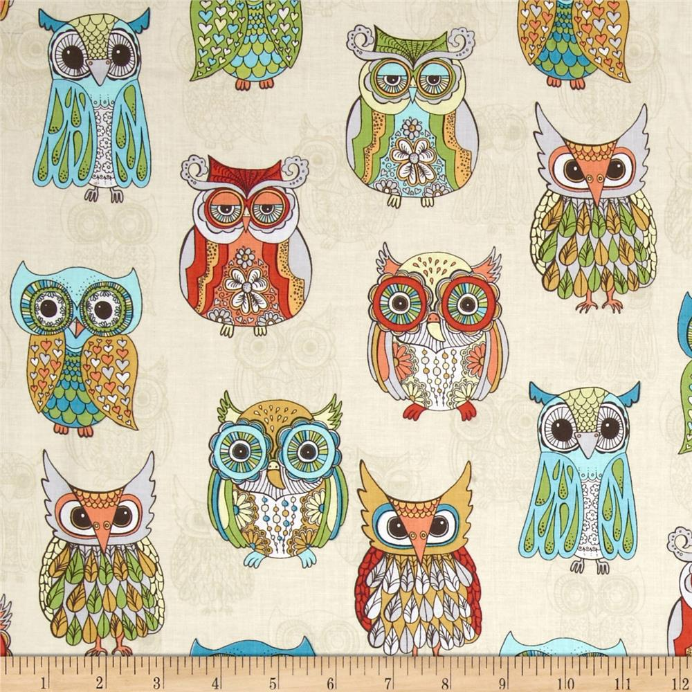 Timeless Treasures Embellished Owls Cream