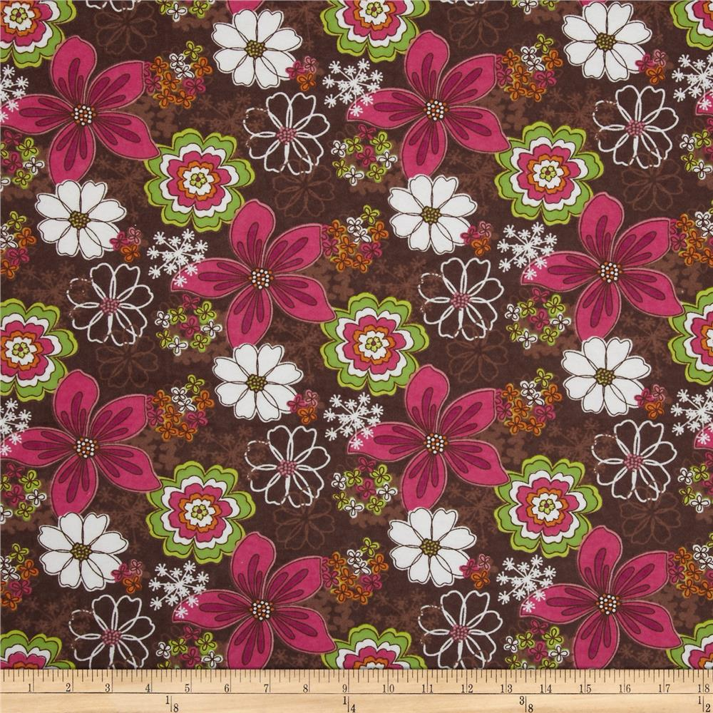 Flannel Retro Floral Brown