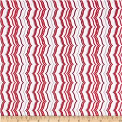Celebrate the Season Metallic Wavy Chevron Red
