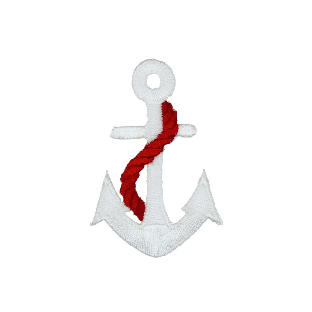 Anchor with Rope Applique Wht/Red