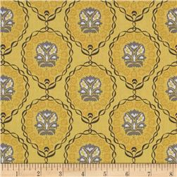Valori Wells Quill Medallion Strand Ochre Gold Fabric