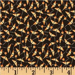 Halloween Masquerade Abstract Candy Corn Black Fabric