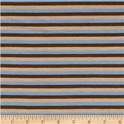 Yarn Dye Jersey Knit Stripe Sky Blue/Brown/Tan