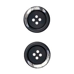 "Fashion Button 7/8"" Kotka Black"