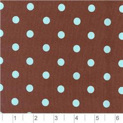 Pimatex Cotton Polka Dots Brown & Aqua