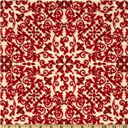 Windham 12 Days of Christmas Scroll Red/Tan