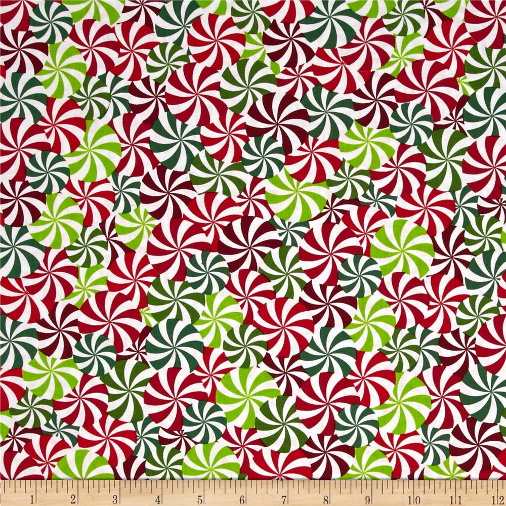 Kanvas Winter Novelty Candy Swirls Red/Green