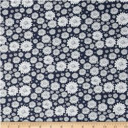 Morocco Blues Stretch Poplin Floral Print Midnight Blue/White