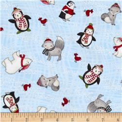 Snow Buddies Flannel Animals Blue