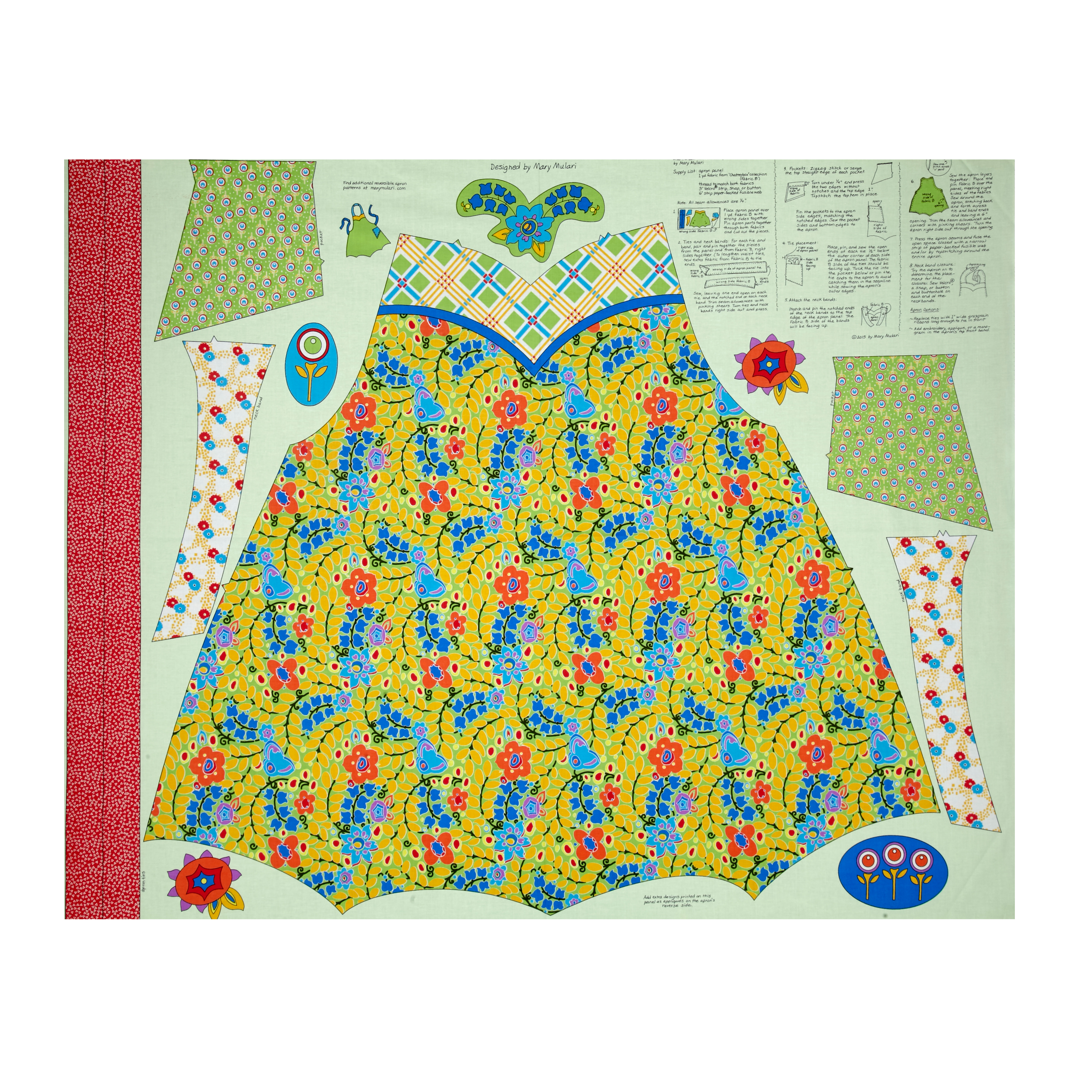 Penny Rose Chatterbox Aprons 36'' Panel Green Fabric by Christensen in USA