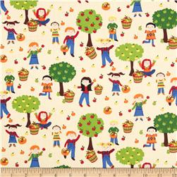 Timeless Treasures Kids Apple Orchard Cream