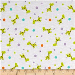 Baby Giraffe Stretch Jersey Knit Dots Multi