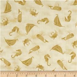 Forever By The Seaside Tossed Boats/Crabs/Fish Sand Fabric