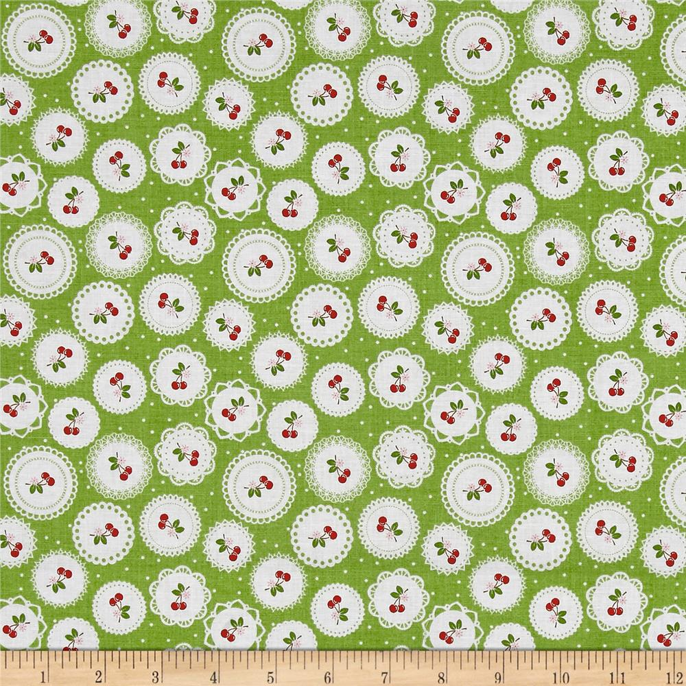 Riley Blake Sew Cherry 2 Doily Green