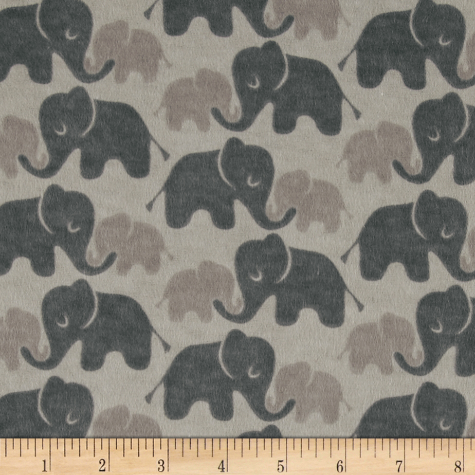 Flannel Elephants Tone on Tone Grey Fabric