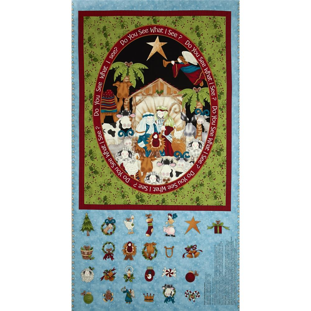 Do You See What I See Advent Calendar Panel 24 In. Blue Fabric By The Yard
