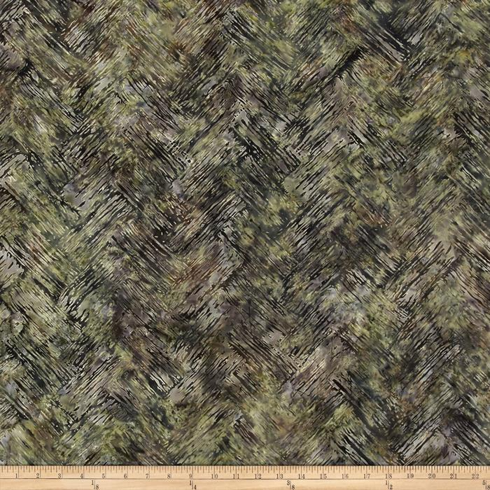 Bali Batiks Handpaints Chevron Brush Stone Green