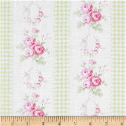 Tanya Whelan Slipper Roses Country Ticking Green Fabric