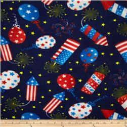 Americana Fleece 4th of July Celebration Navy Fabric