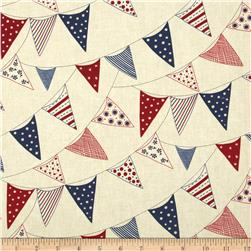 Moda Red, White & Free Buntings Cream