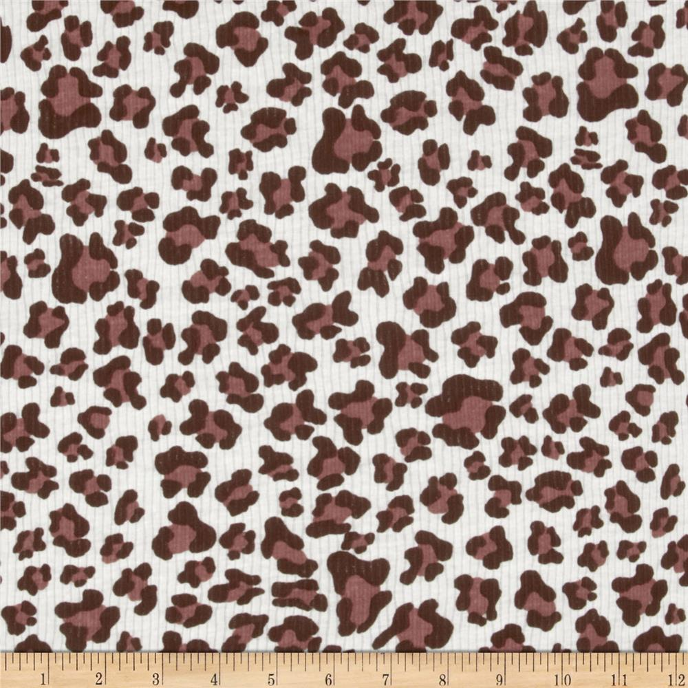 Rib Knit Animal Spots White/Maroon