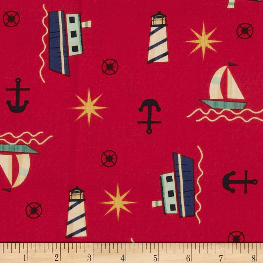 Ships Ahoy Off Shore Red