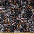 French Designer Rayon Challis Tribal Collage  Black/Yellow/Blue