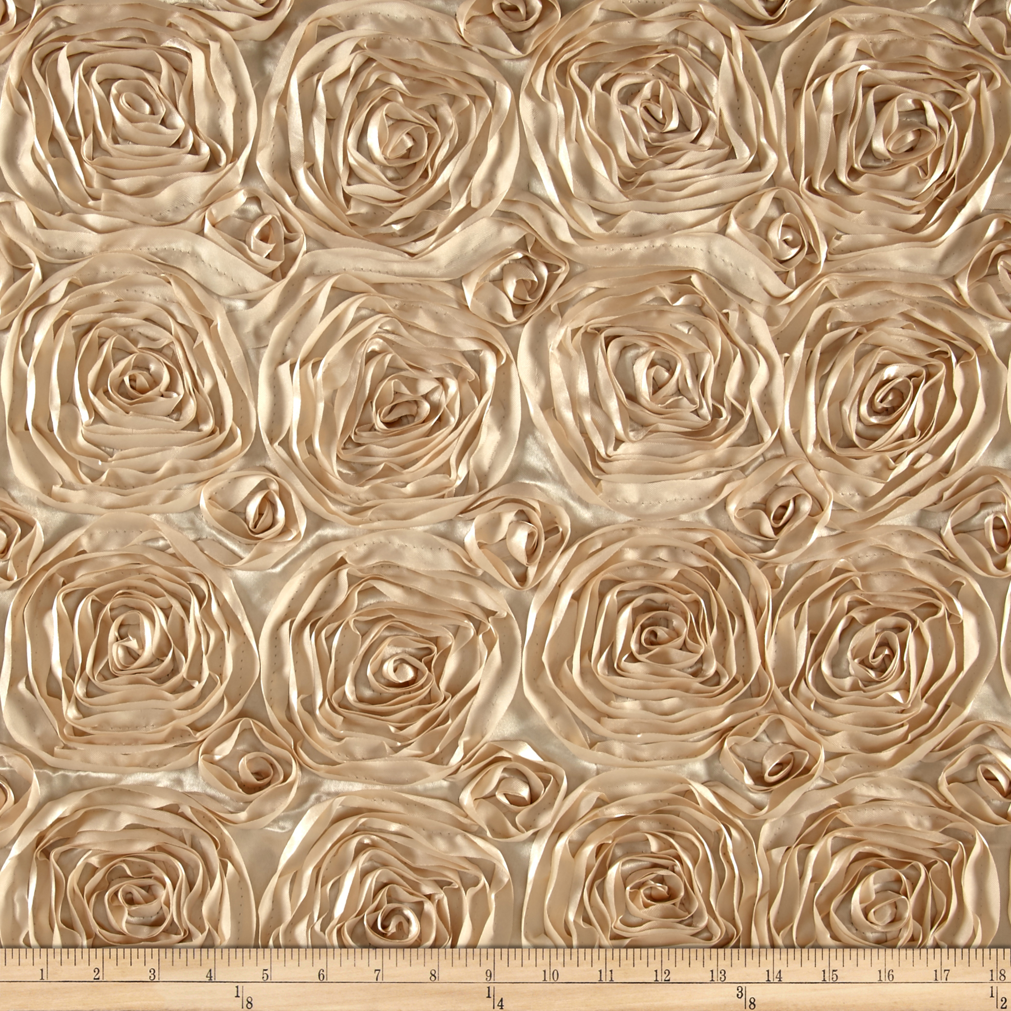 Wedding Rosette Satin Champagne Fabric by Ben in USA