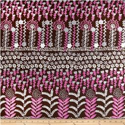 Cotton Lawn Floral Stems Brown/Pink