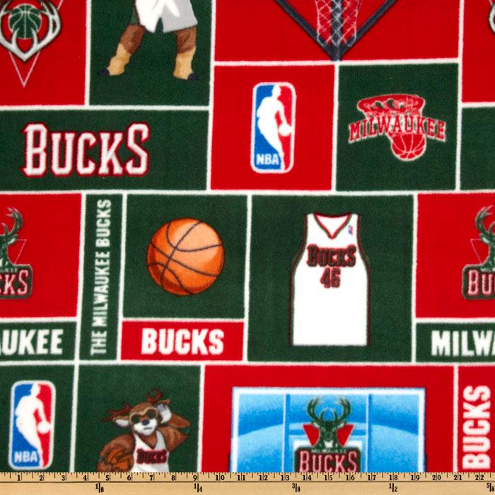 NBA Fleece Milwaukee Bucks Blocks Green/Red