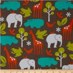 Michael Miller Zoology Flannel Dirt Brown Fabric