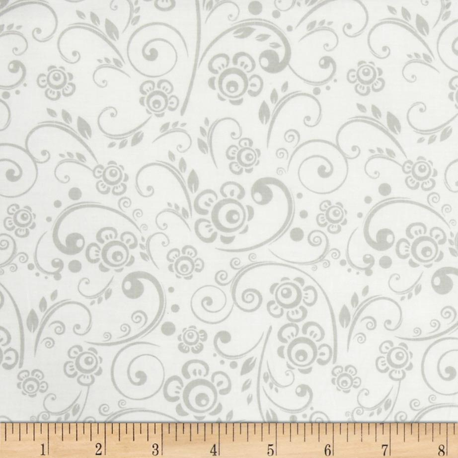 Get Back! Floral Swirl Gray/White