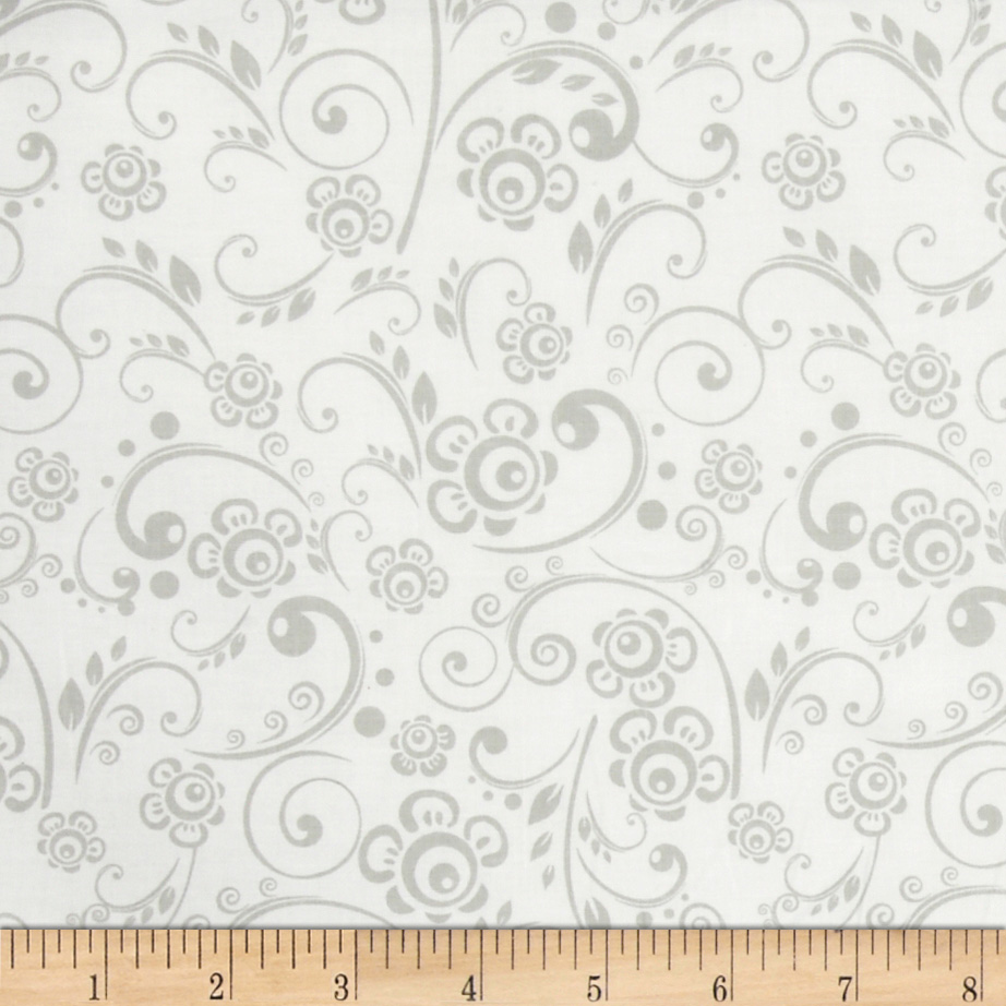 Get Back! Floral Swirl Gray/White Fabric by Santee in USA