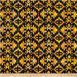 Indian Batik Sierra Nevada Southwest  Stripe Motif Black Orange