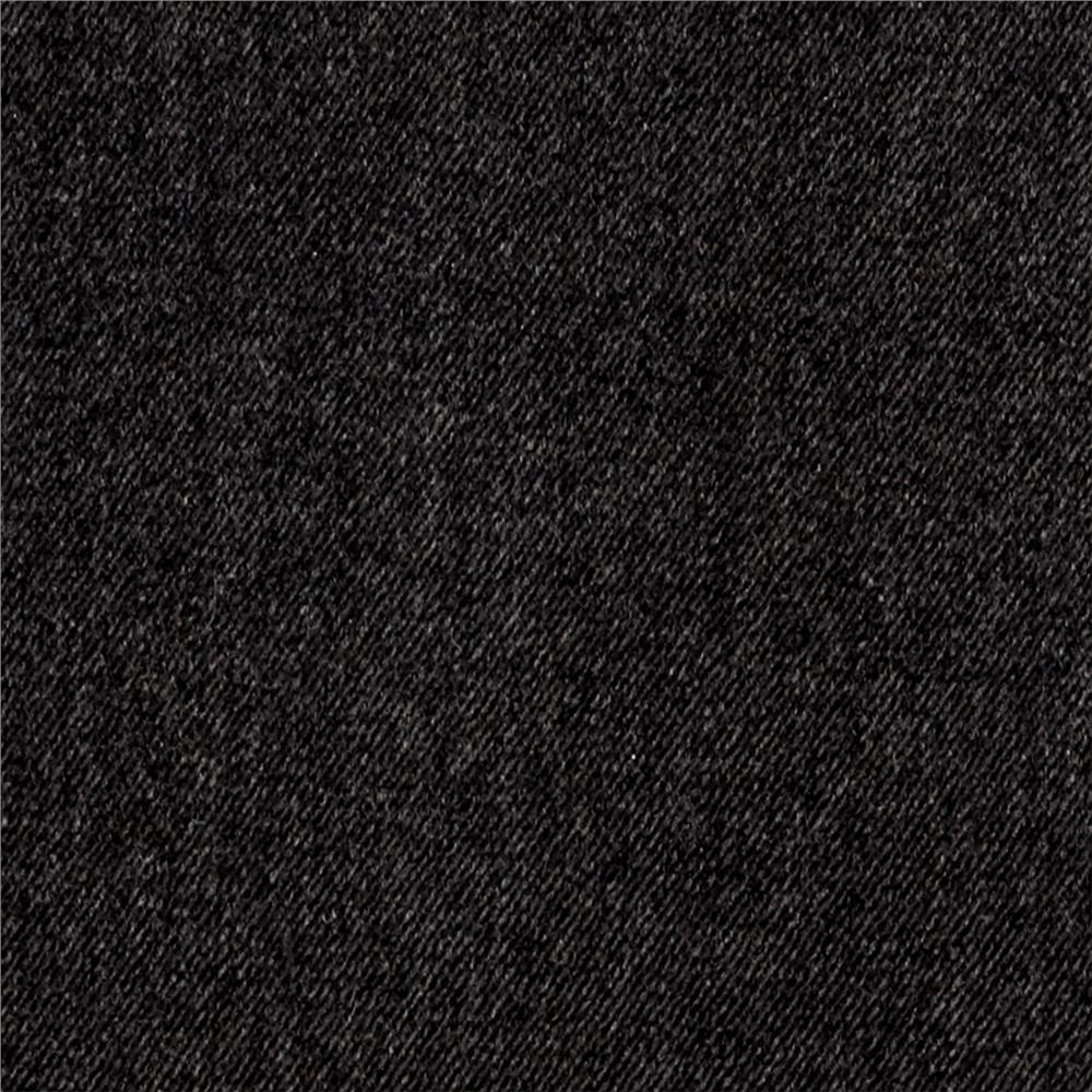 Telio Wool Blend Melton Fancy Diagonal Weave Black/Gray