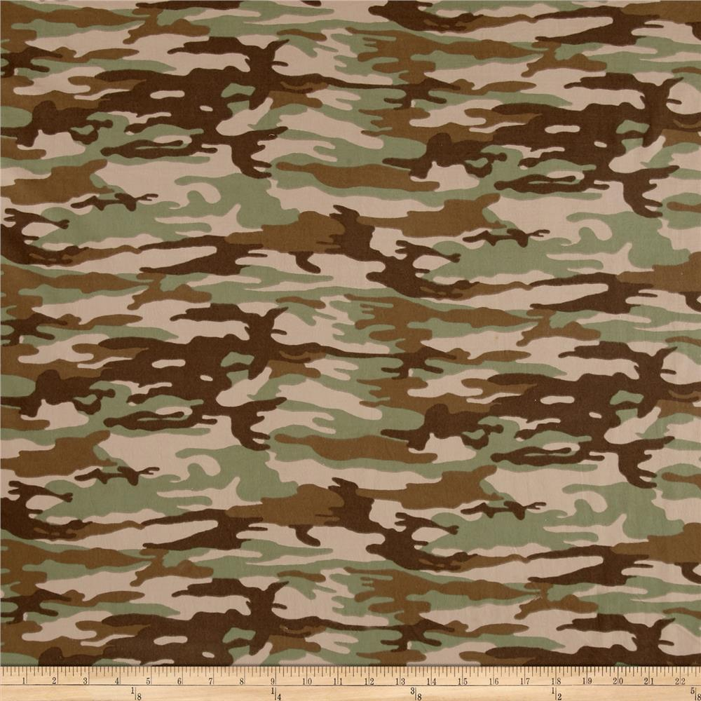 Brushed Jersey Knit Camouflage Green/Brown Fabric