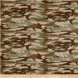 Brushed Jersey Knit Camouflage Green/Brown