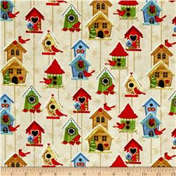 Sharla Fults Winter Joy Bird Houses Cream