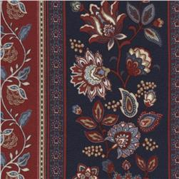 Americana Flannel Jacobean Floral Stripe Fabric
