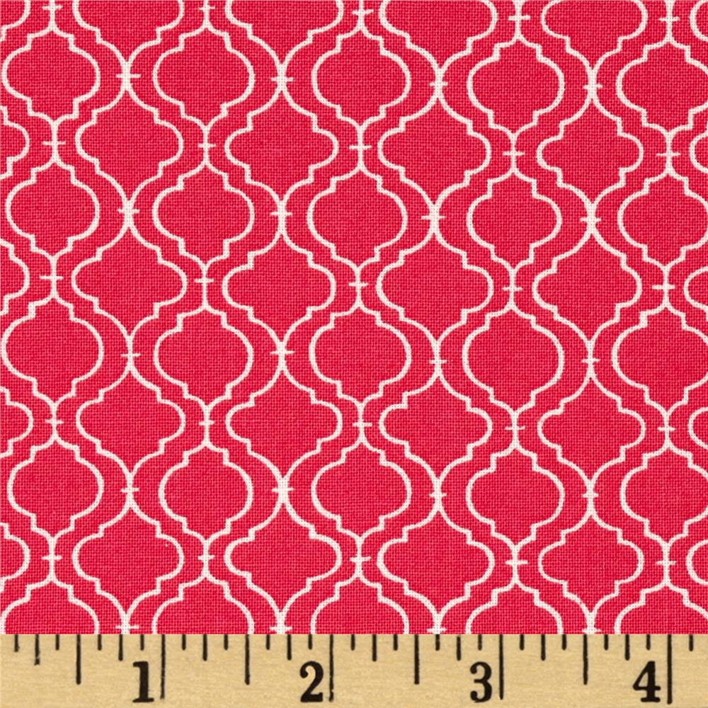 Moda Ever After Quatrefoil Lattice Passionate Pink
