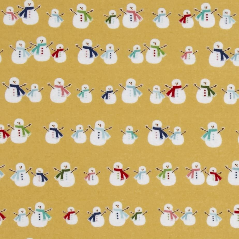 Riley blake cozy christmas flannel snowmen yellow for Flannel fabric