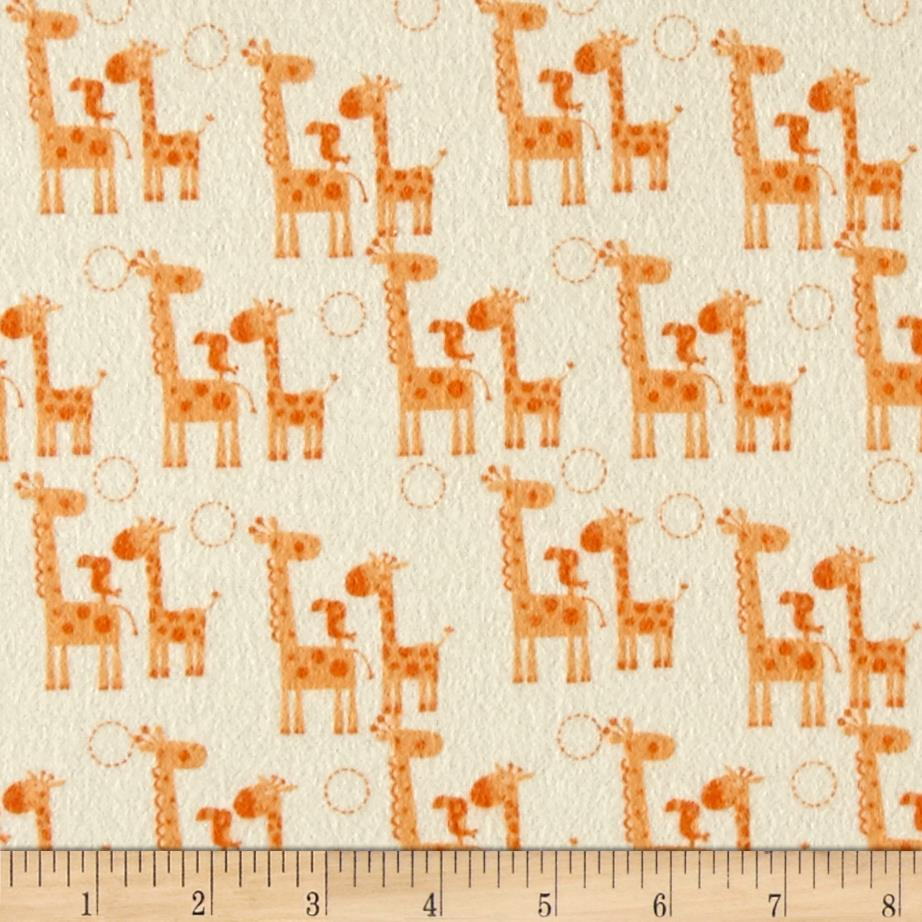 Riley Blake Giraffe Crossing 2 Flannel Giraffes Orange