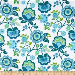 Intrigue Fancy Flannel Large Floral White/Teal