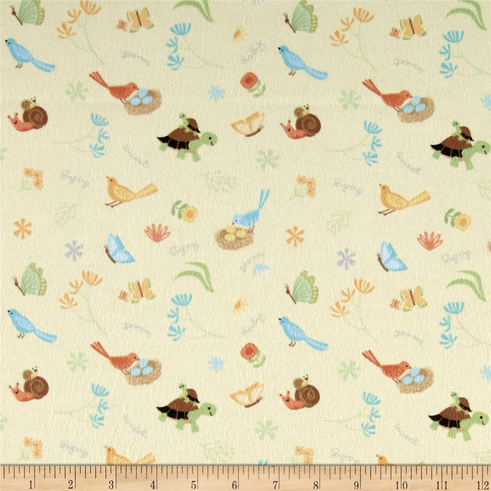 Sweet Meadow Flannel Critter Toss Yellow Fabric