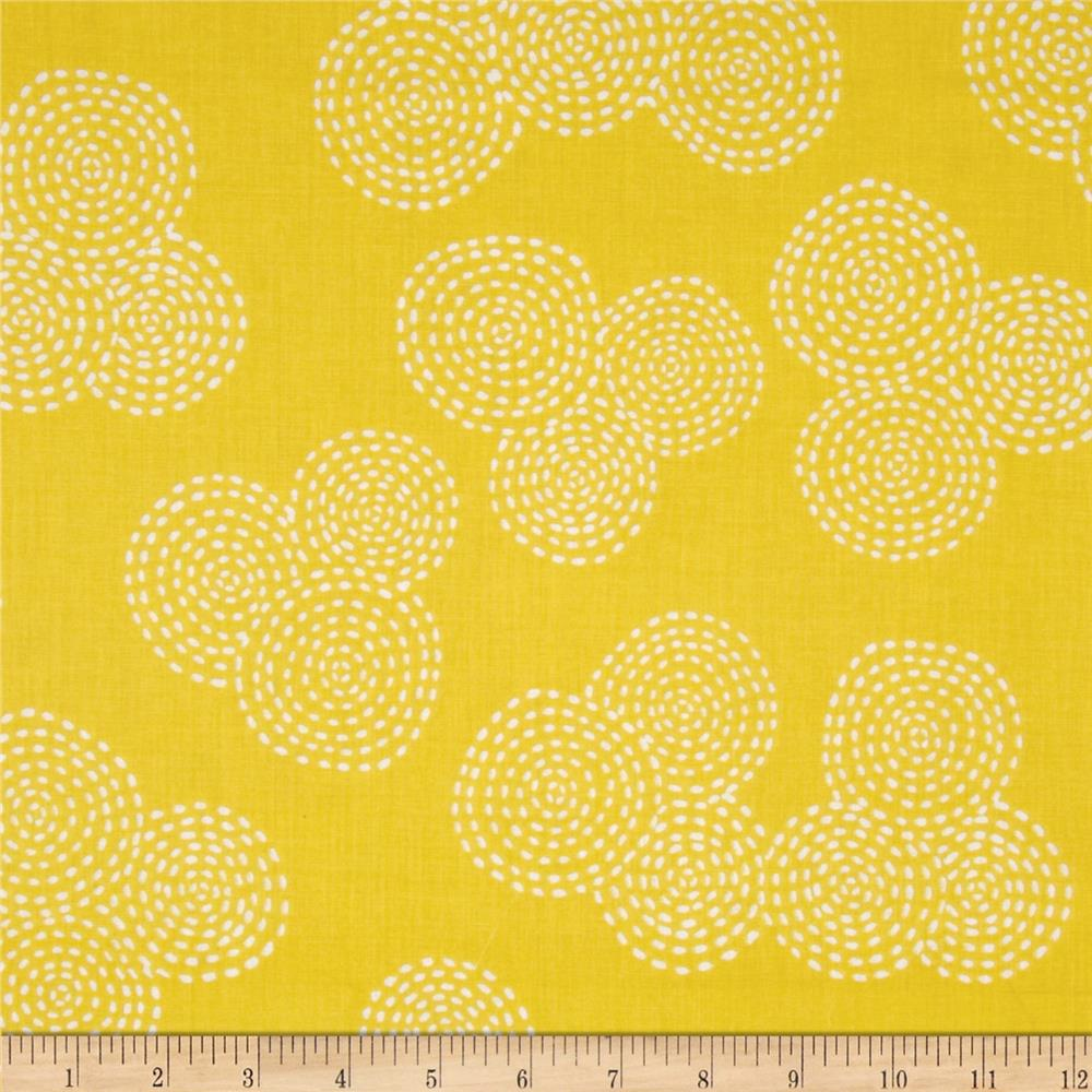Michael Miller Stitch Floral Circle Mustard