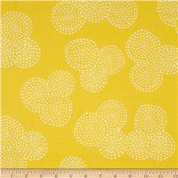Michael Miller Stitch Floral Circle Mustard Fabric