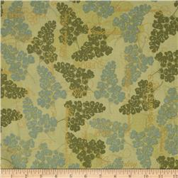Fairmount Park Maidenhair Fern Metallic Green/Blue Fabric