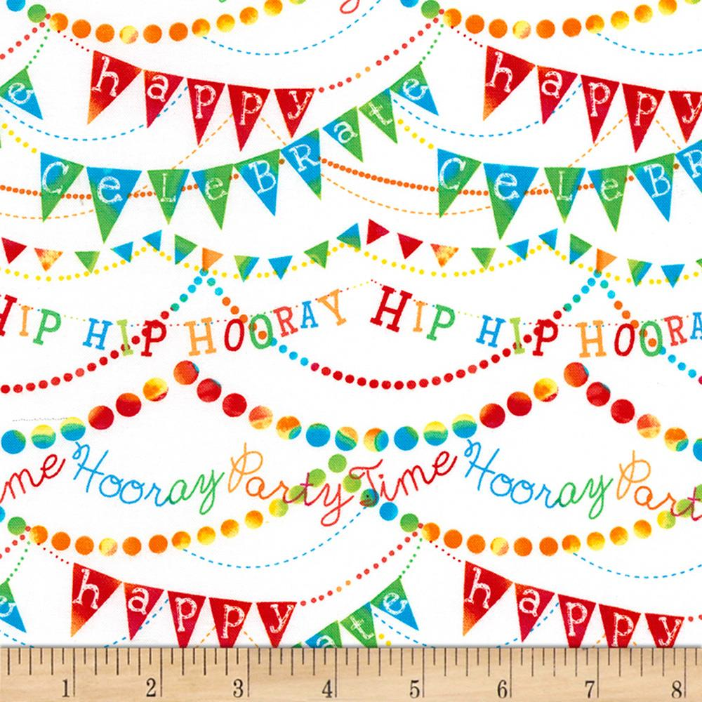 Timeless Treasures Birthday Party Hip Hip Hooray White